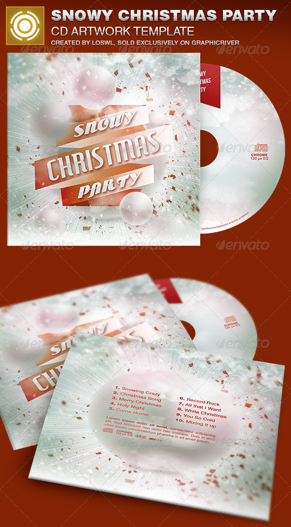 Snowy Christmas Party CD Artwork Template - CD & DVD Artwork Print Templates