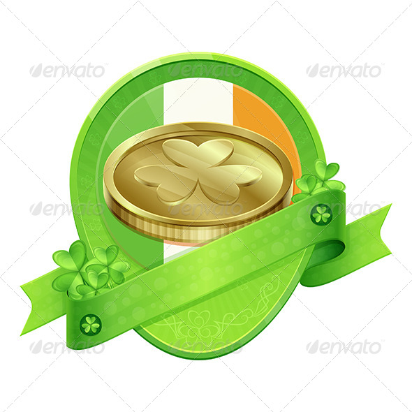 Sticker Gold Coin St Patrick's Day - Decorative Vectors