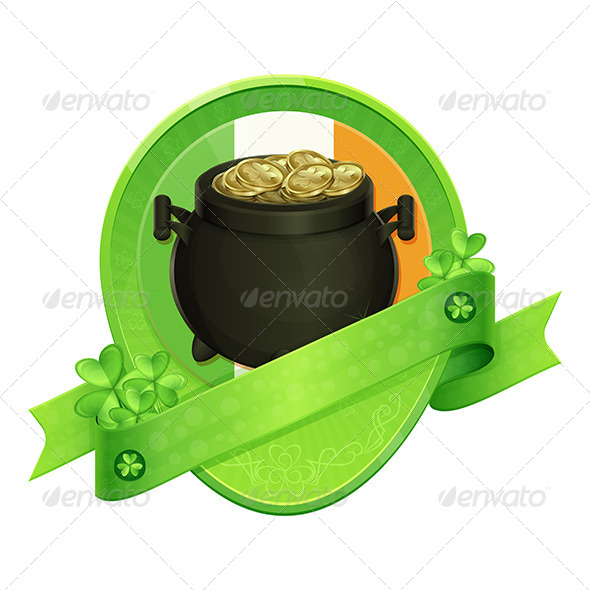 Sticker Pot of Gold Saint Patrick's Day - Decorative Vectors