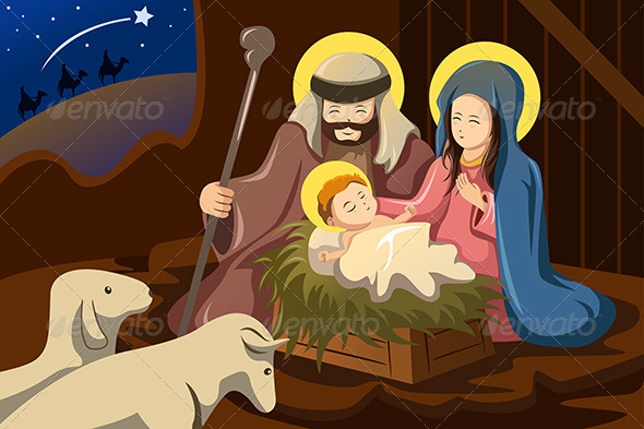 Joseph, Mary and Baby Jesus - Religion Conceptual