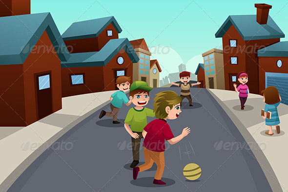Kids Playing in the Street - People Characters
