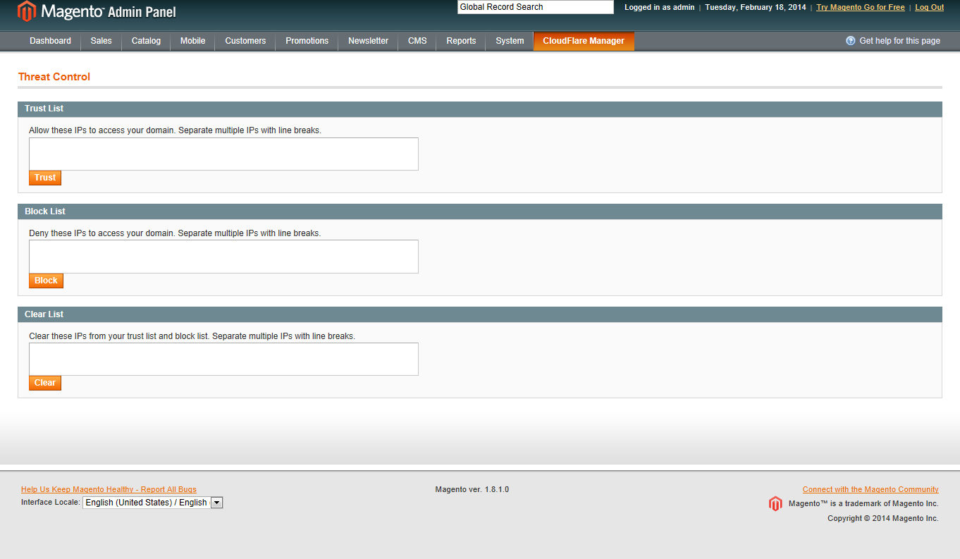Magento CloudFlare Manager