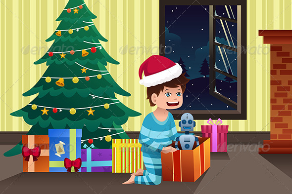 Boy Opening a Present under the Christmas Tree - Christmas Seasons/Holidays