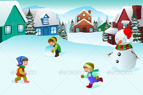 Kids Playing in a Winter Wonderland - People Characters