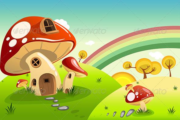 Mushroom Houses - Backgrounds Decorative