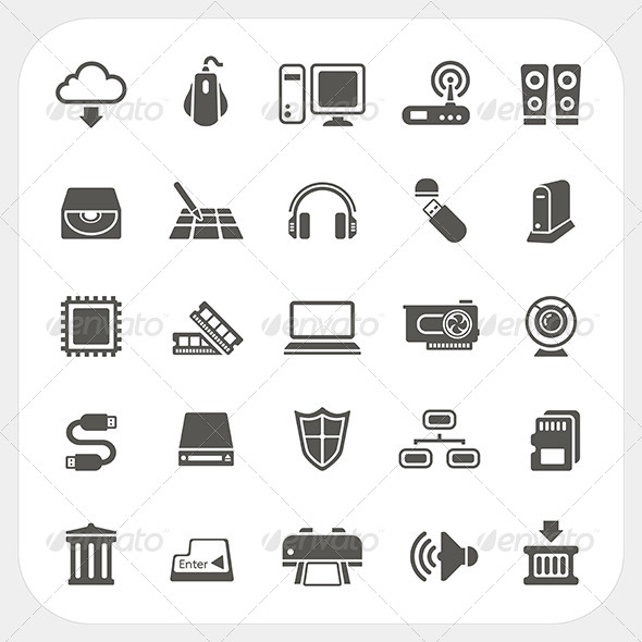 Computer Hardware Icons Set - Computers Technology