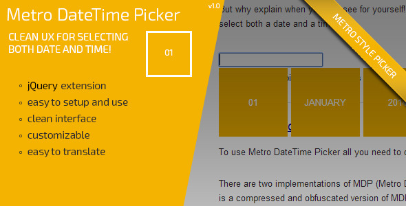 Metro DateTime Picker - CodeCanyon Item for Sale