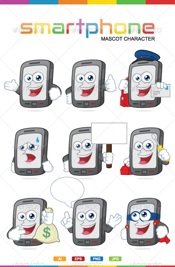 Smartphone Mascot Character - Characters Vectors