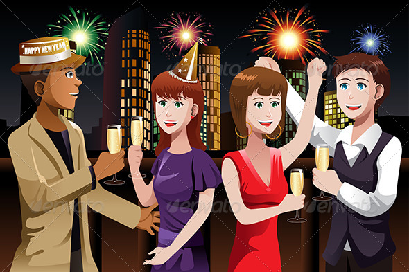 Young People Celebrating New Year - People Characters