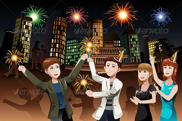 Young People celebrating New Year - Seasons/Holidays Conceptual