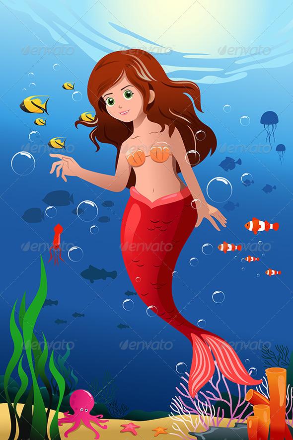 Little Mermaid in the Ocean - Characters Vectors