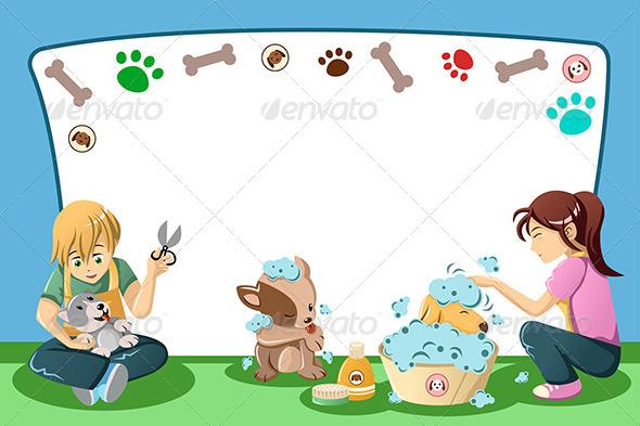 Pets Grooming Advertisement - Decorative Vectors