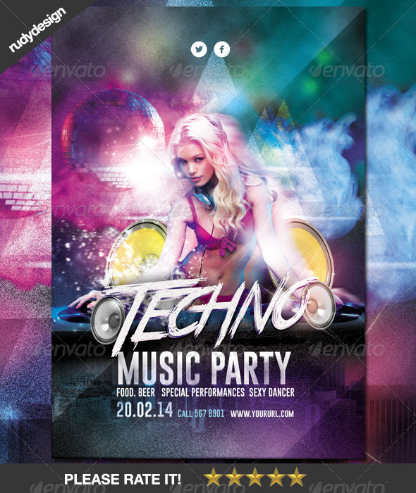 Techno DJ Music Party Flyer Design - Clubs & Parties Events
