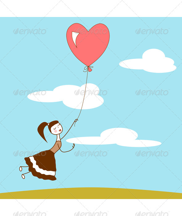Girl With a Heart Balloon - People Characters