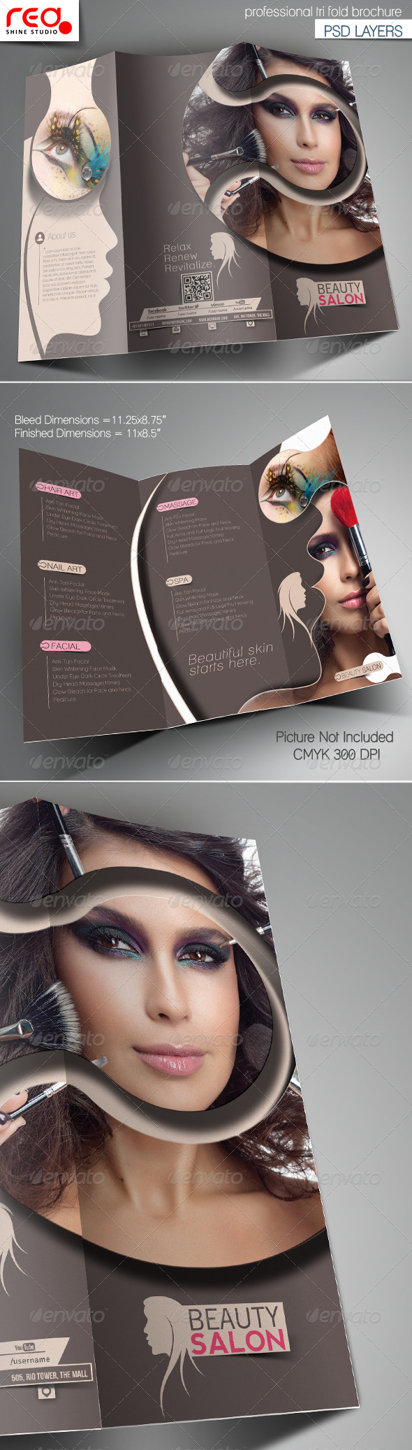 Beauty Salon Promotion Trifold Brochure Template  - Corporate Brochures