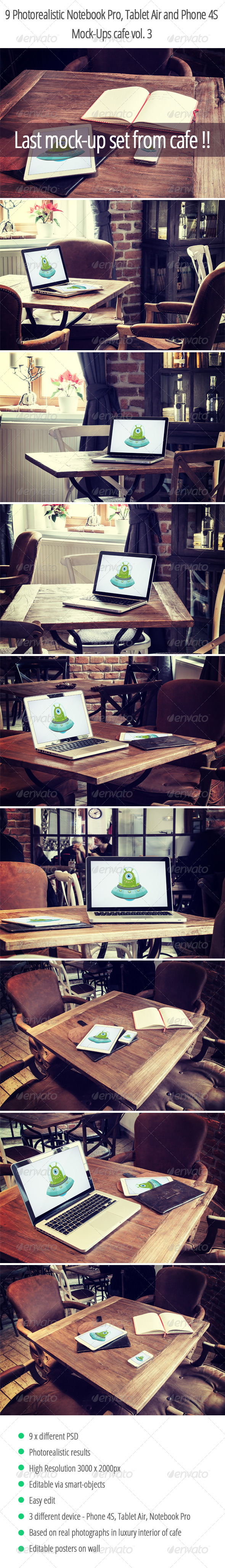 9 Photorealistic Device Mock-Ups in Cafe Vol.3 - Displays Product Mock-Ups