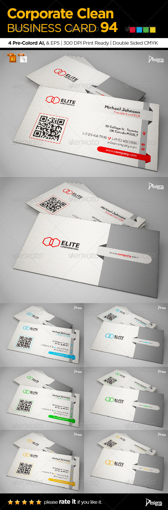 Corporate Clean Business Card 94 - Business Cards Print Templates