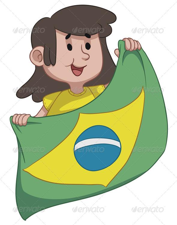 Girl Holding a Brazilian Flag - Sports/Activity Conceptual