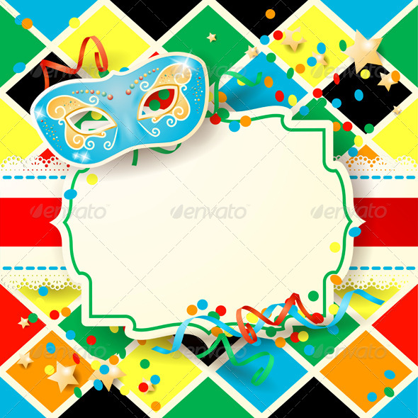 Carnival Background with Mask and Label - Miscellaneous Seasons/Holidays