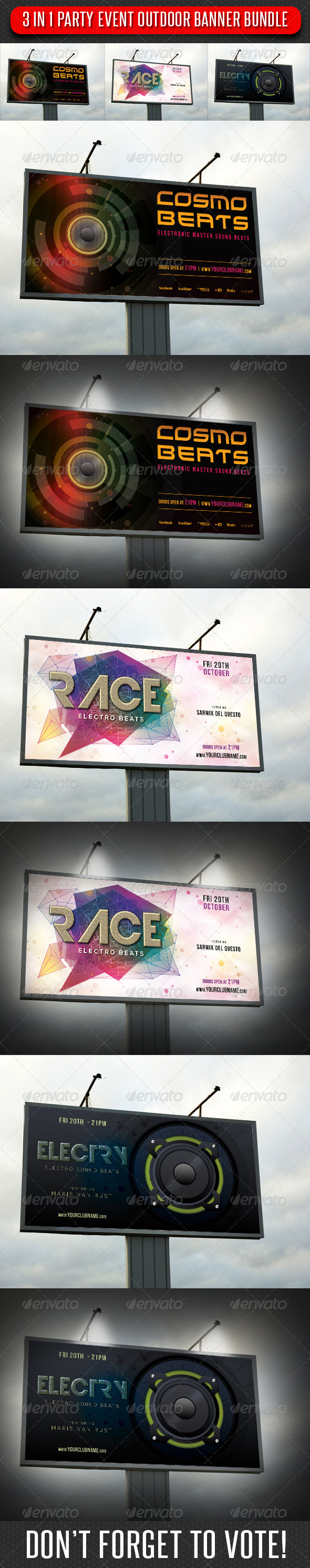 3 in 1 Party Event Outdoor Banner Bundle 01 - Signage Print Templates