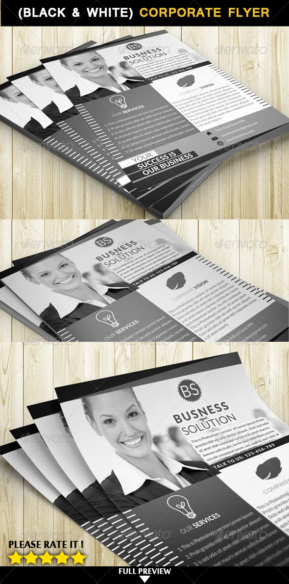 Corporate Flyer (Black & White) - Corporate Flyers
