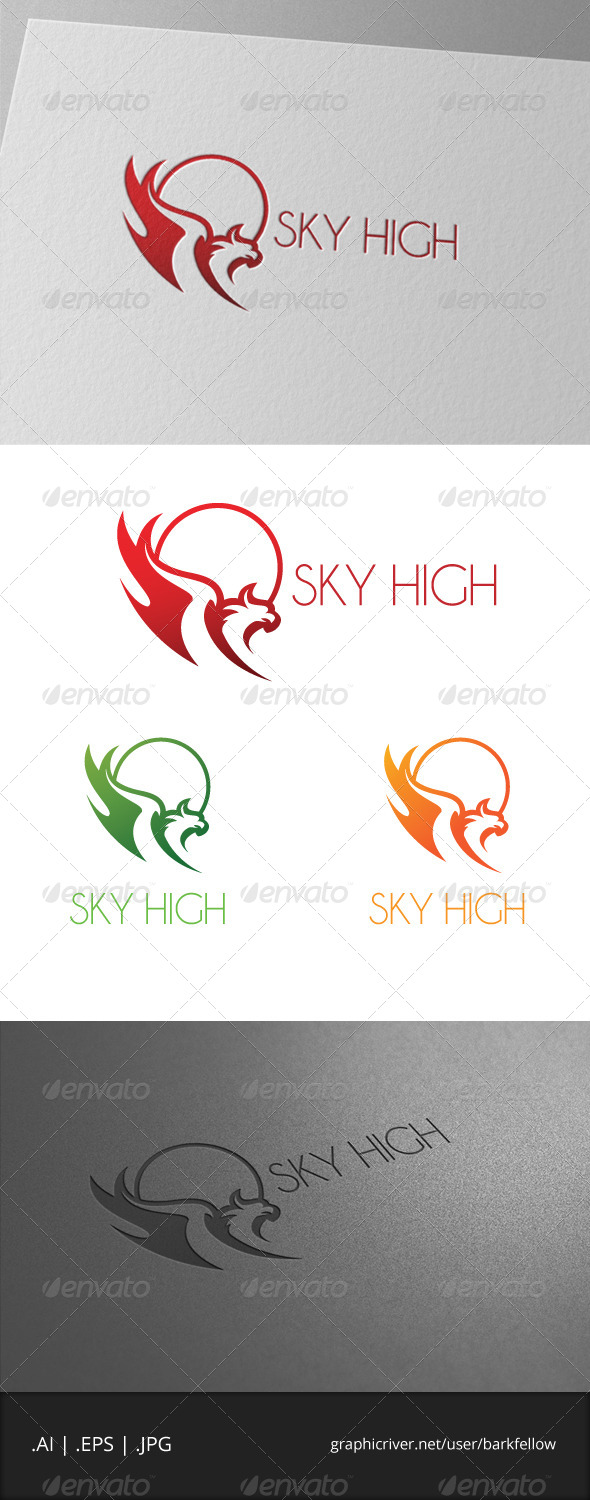 Sky High Eagle Bird Logo - Animals Logo Templates