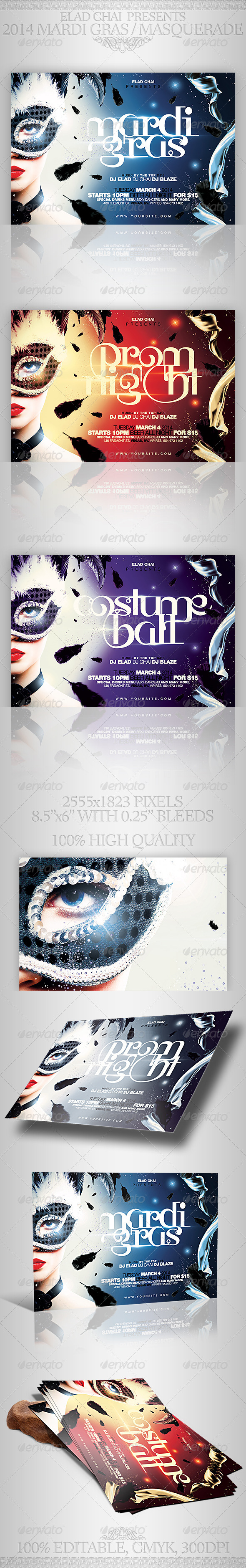 2015 Mardi Gras & Masquerade Flyer Template - Holidays Events