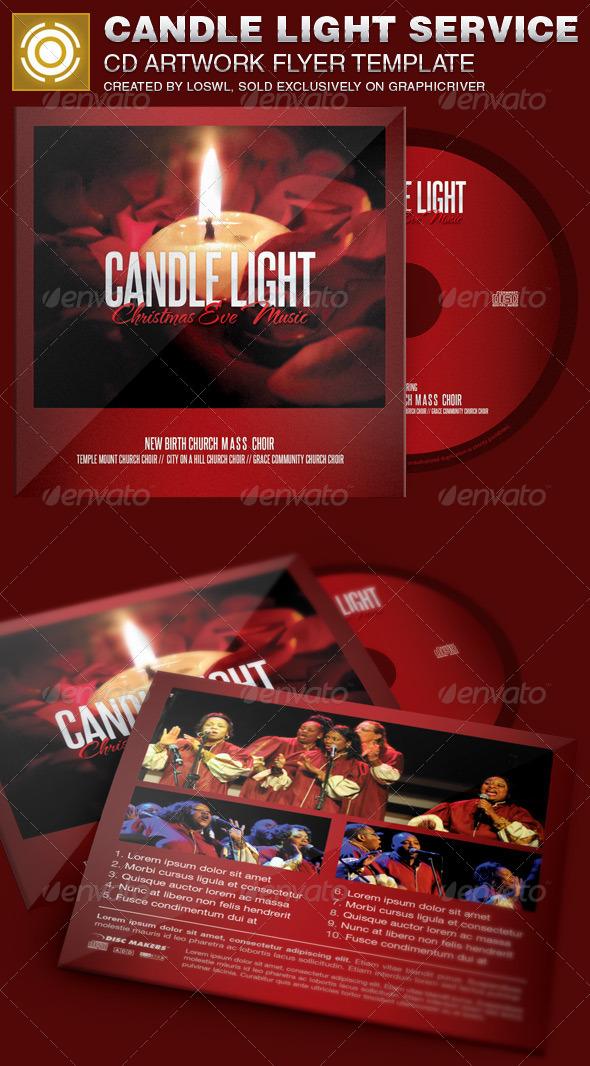 Candle Light Service CD Artwork Template - CD & DVD Artwork Print Templates