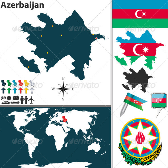 Map of Azerbaijan - Travel Conceptual