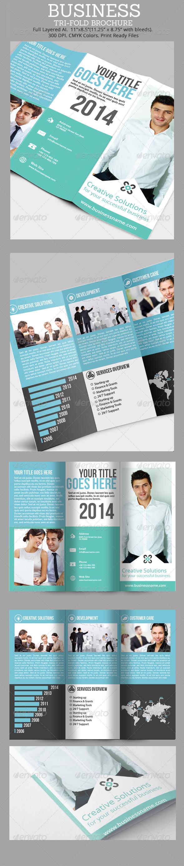 Simple Business Tri-Fold Brochure  - Corporate Brochures