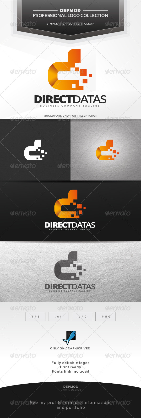 Direct Datas Logo - Letters Logo Templates