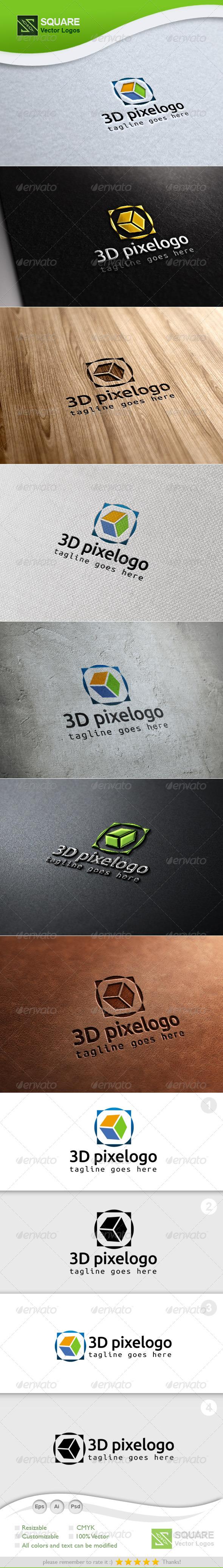 3D, Pixel Vector Logo Template - 3d Abstract