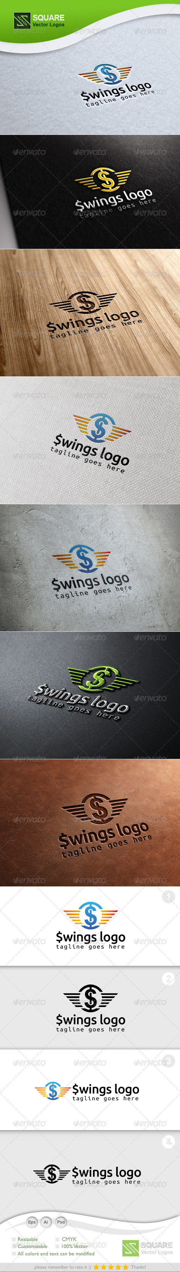 $, Wings Vector Logo Template - Letters Logo Templates