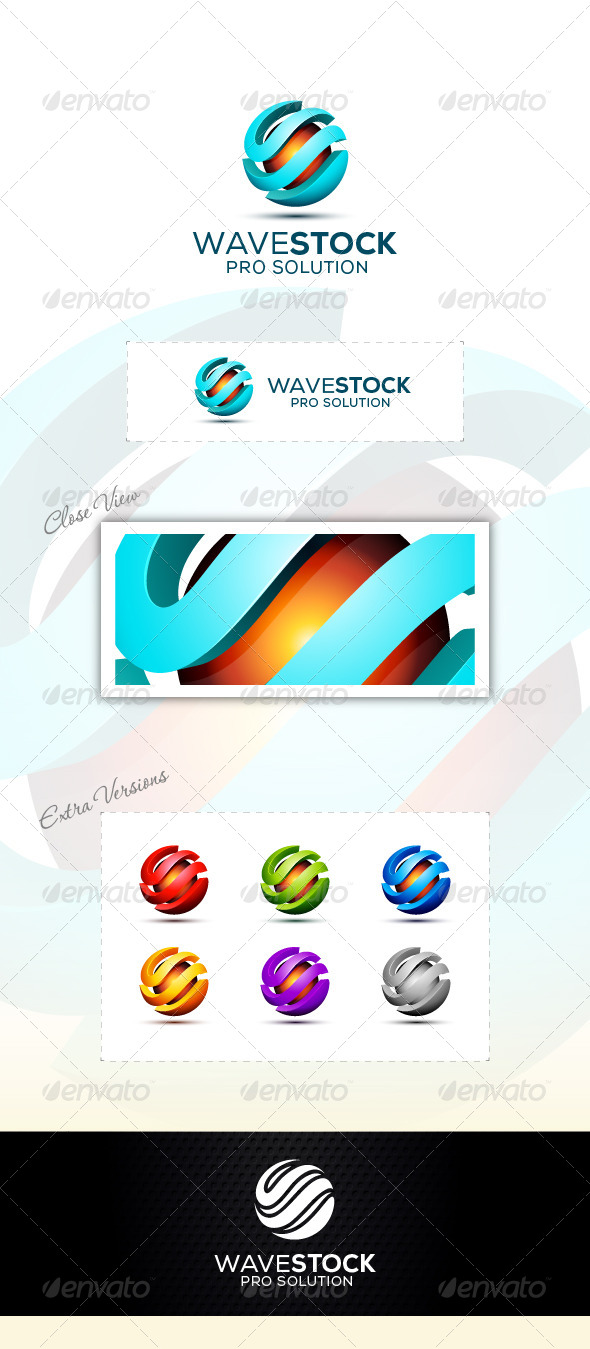 Wave Tach Logo - 3d Abstract