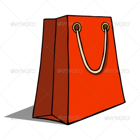 Red Shopping Bag - Man-made Objects Objects