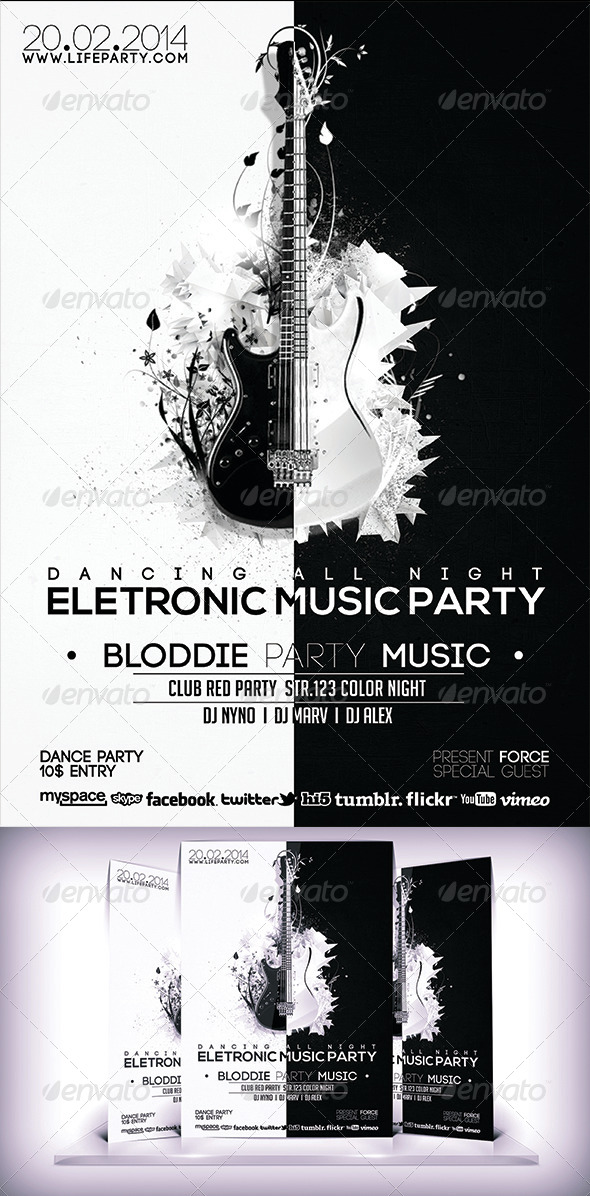 Electronic Music Party Flyer - Flyers Print Templates