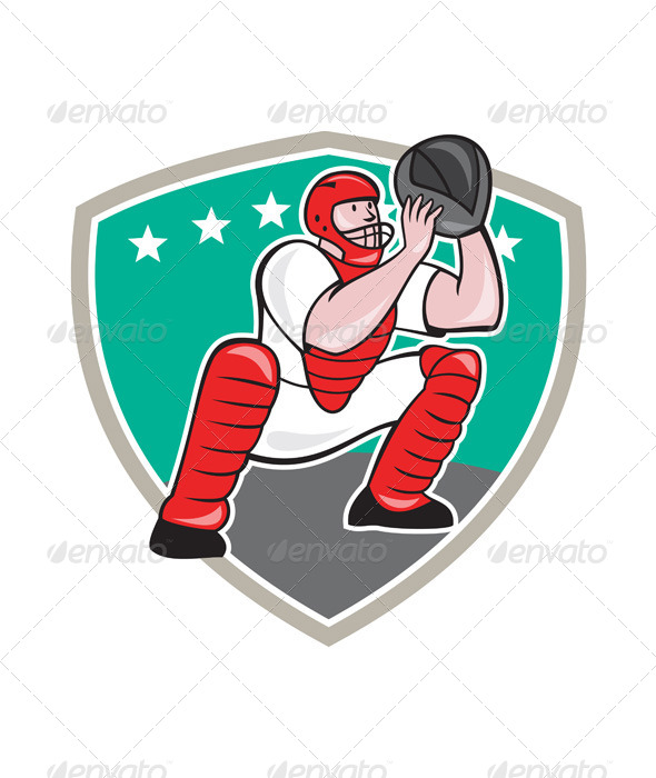 Baseball Catcher Shield Cartoon - Sports/Activity Conceptual