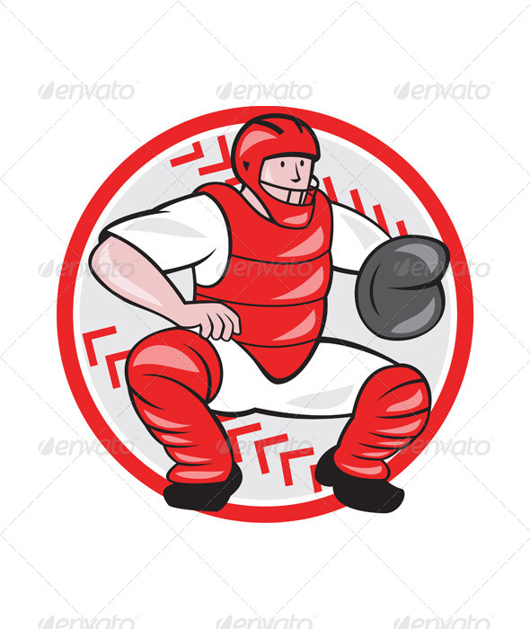 Baseball Catcher Catching Cartoon - Sports/Activity Conceptual