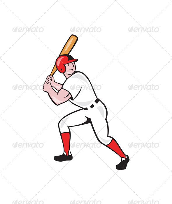 Baseball Player Bat Side Isolated Cartoon - Sports/Activity Conceptual