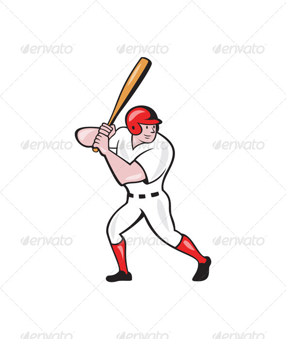 Baseball Player Batting Side Isolated Cartoon - Sports/Activity Conceptual