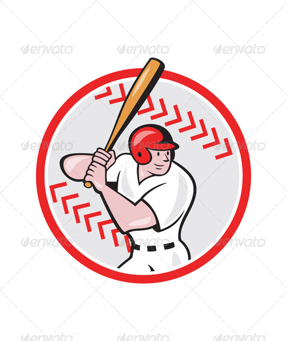 Baseball Player Batting Ball Cartoon - Sports/Activity Conceptual