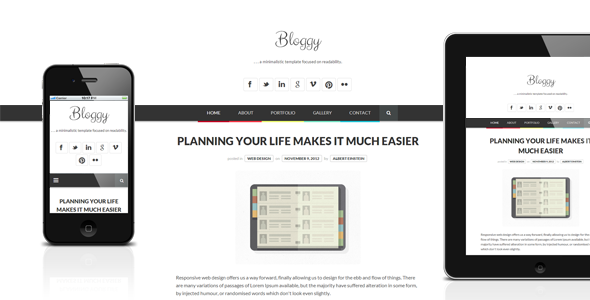 Bloggy WP - Responsive Minimalist WordPress Theme - Personal Blog / Magazine