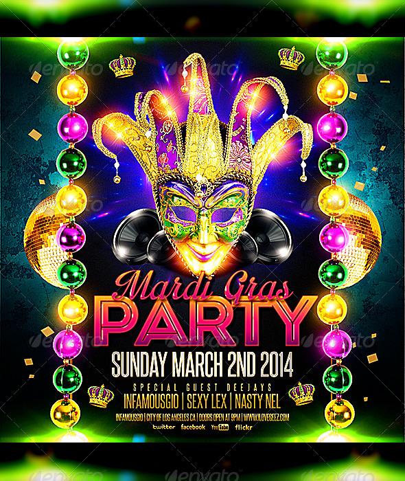 Mardi Gras 4 by infamousgio – Mardi Gras Party Invitations Templates