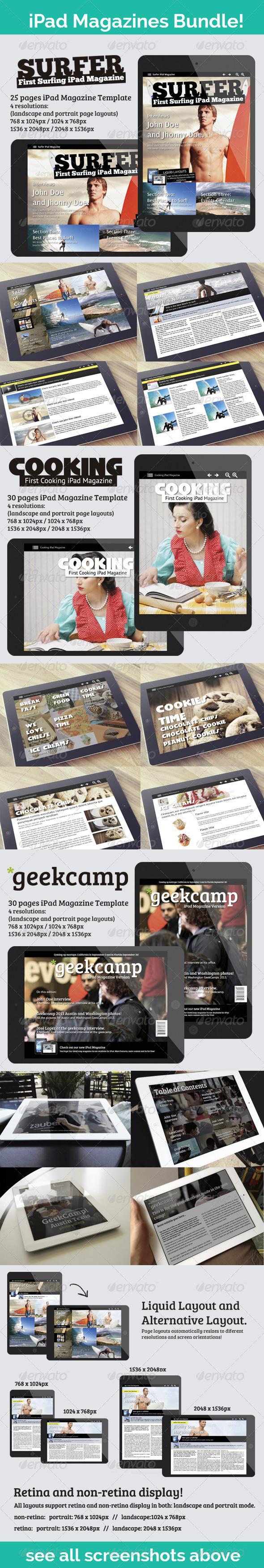 iPad Magazines Bundle: Sports, Cook and Tech - Digital Magazines ePublishing