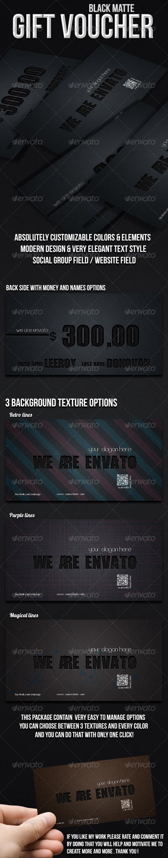 Black Matte Gift Voucher - Cards & Invites Print Templates