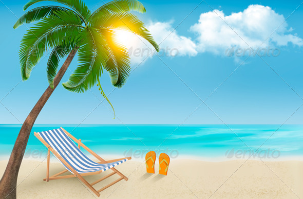 Seaside Background with a Beach Chair and Palm - Travel Conceptual