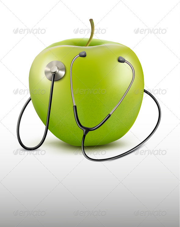 Stethoscope and Green Apple - Health/Medicine Conceptual