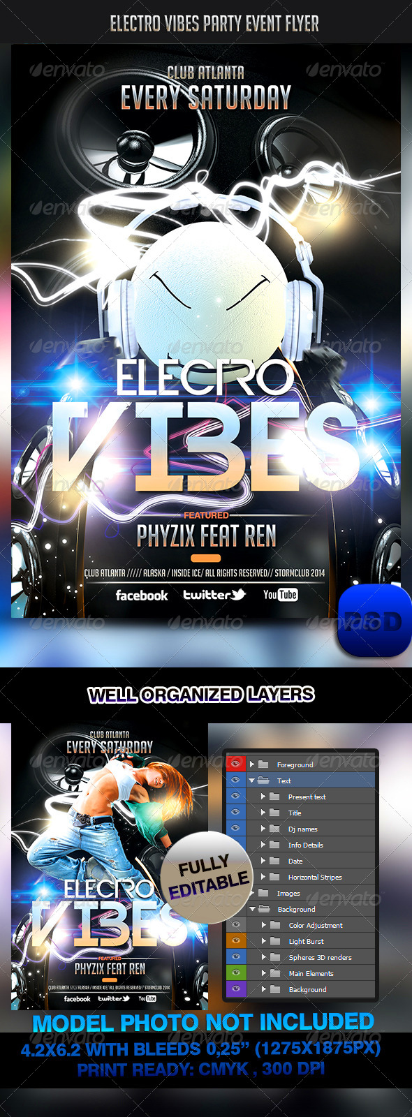 Electro Vibes Party Event Flyer - Events Flyers