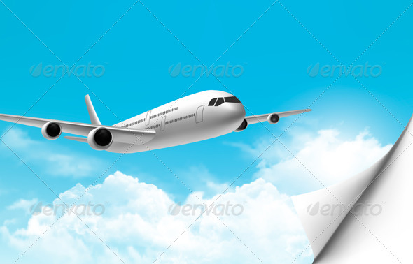 Travel Background with an Airplane  - Travel Conceptual