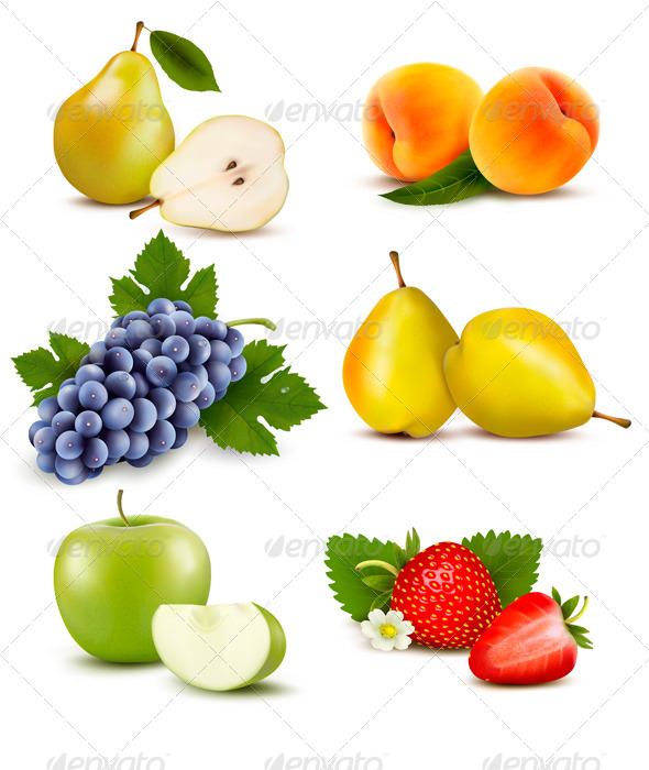 Big Group of Different Fruit - Food Objects
